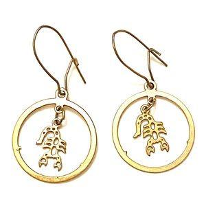 Vintage Scorpio astrology earrings gold
